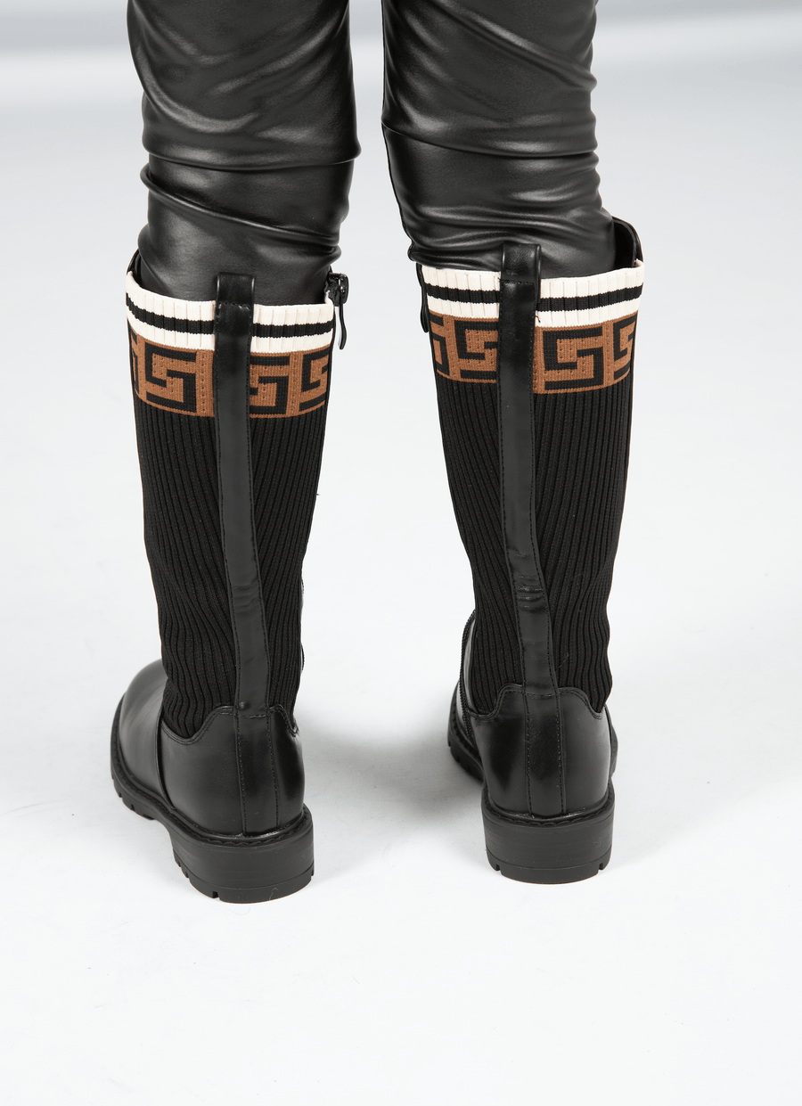 Isabelle Zip Up Knitted Print Detail Mid Calf Boots Black Faux Leather Matte