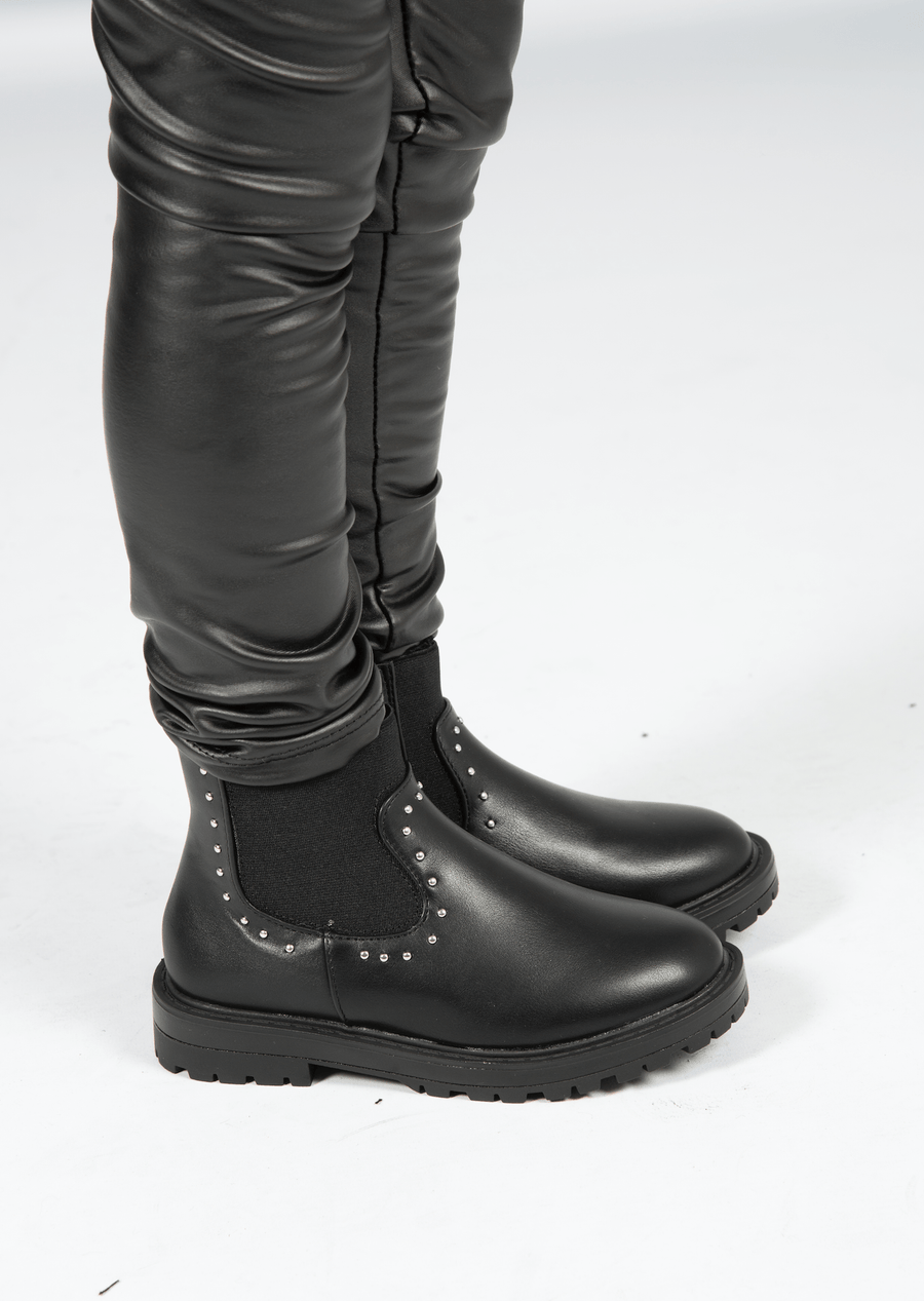 Tess Chunky Studded Boots Black Faux Leather Matte
