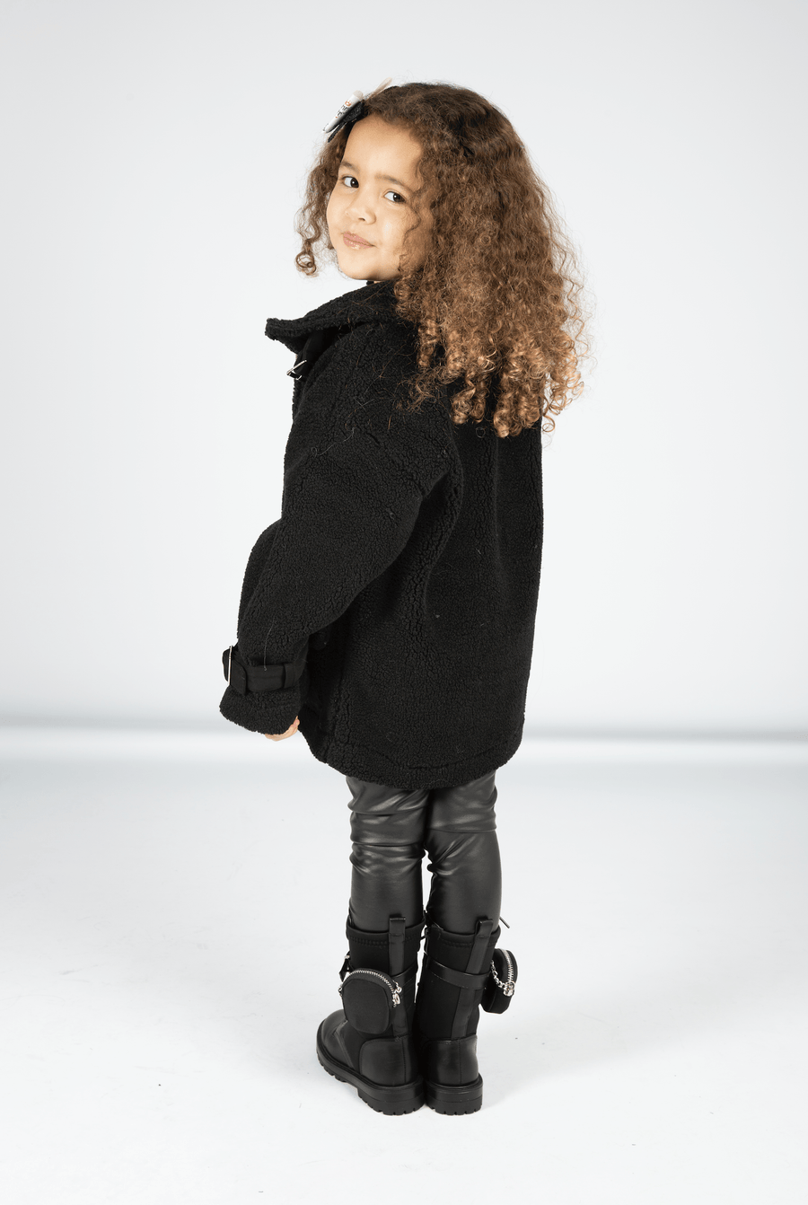 Kendal Teddy Fur Longline Coat With Oversized Pockets and Buckle Detail Black