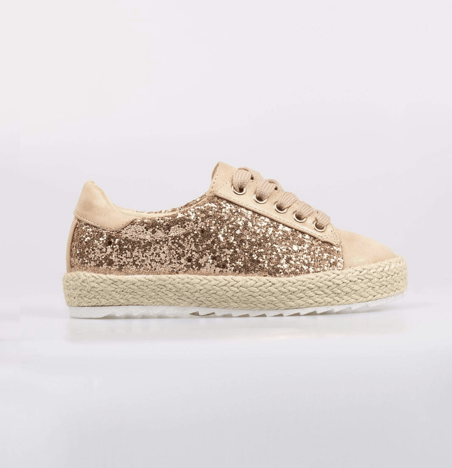 Sophia Glitter Detail Lace Up Espadrille Pumps Champagne