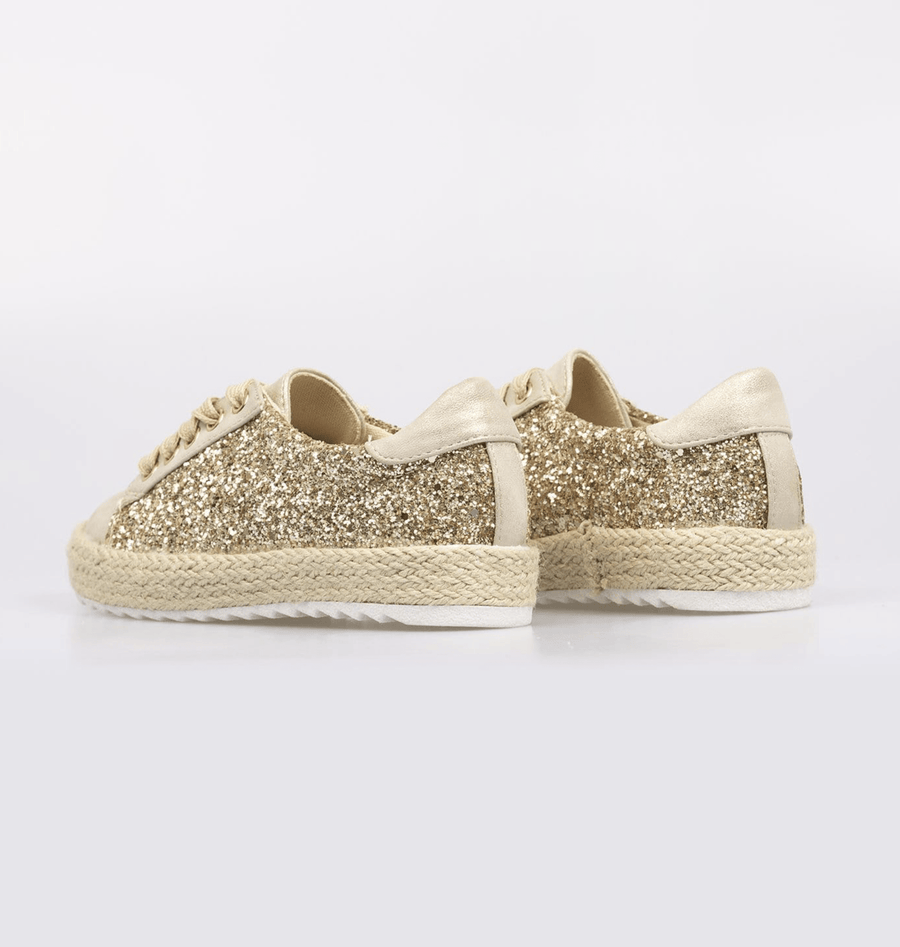 Sophia Glitter Detail Lace Up Espadrille Pumps Gold