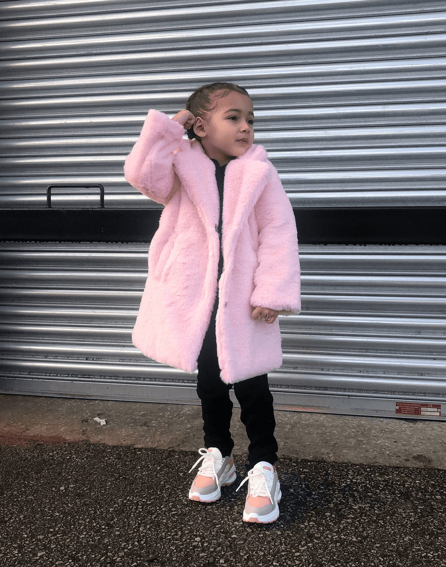 Yara Longline Oversized Fur Coat In Pink From Little Attitude