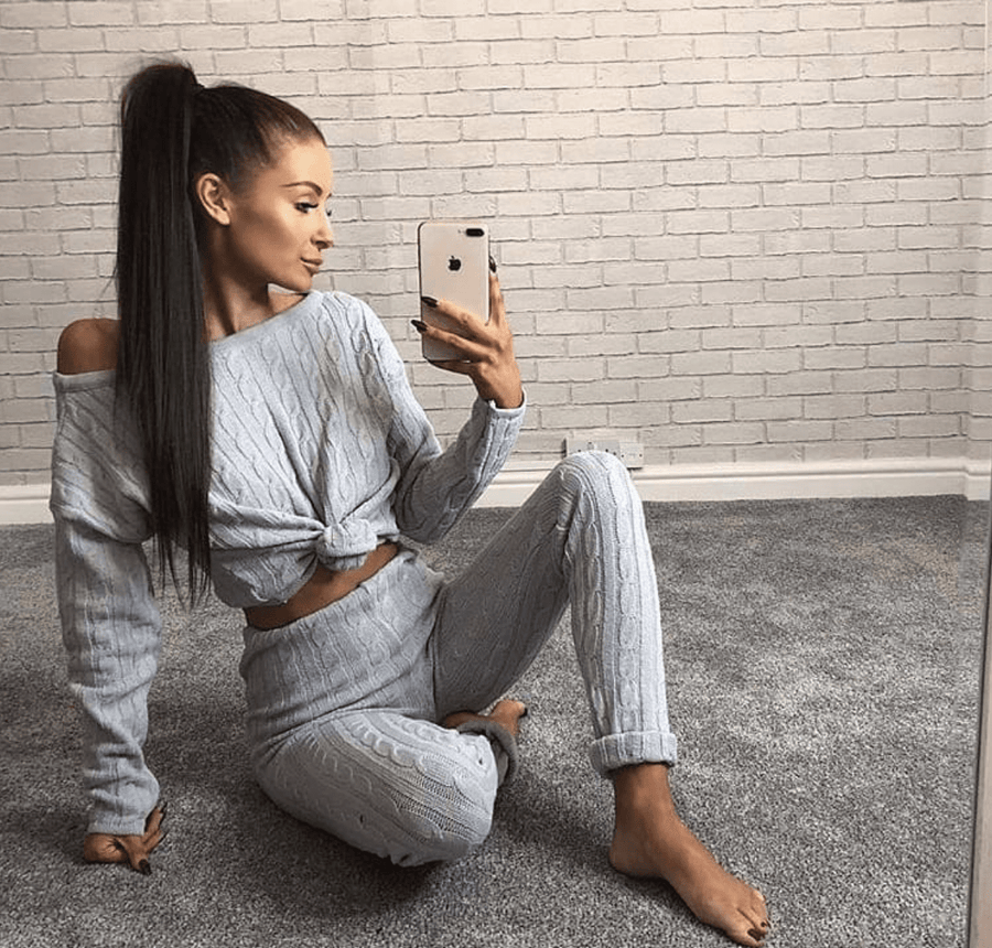 Anha Knitted Wide Neck Lounge Set In Grey By Little Attitude