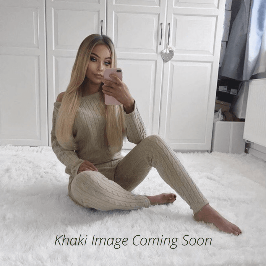 Anha Knitted Wide Neck Lounge Set In Khaki By Little Attitude