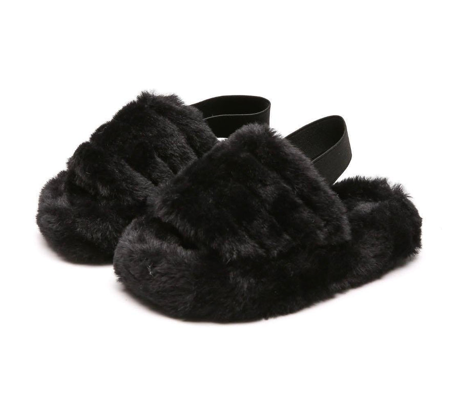 Kinsley Fluffy Stripe Slipper With Strap  in Black Faux Fur
