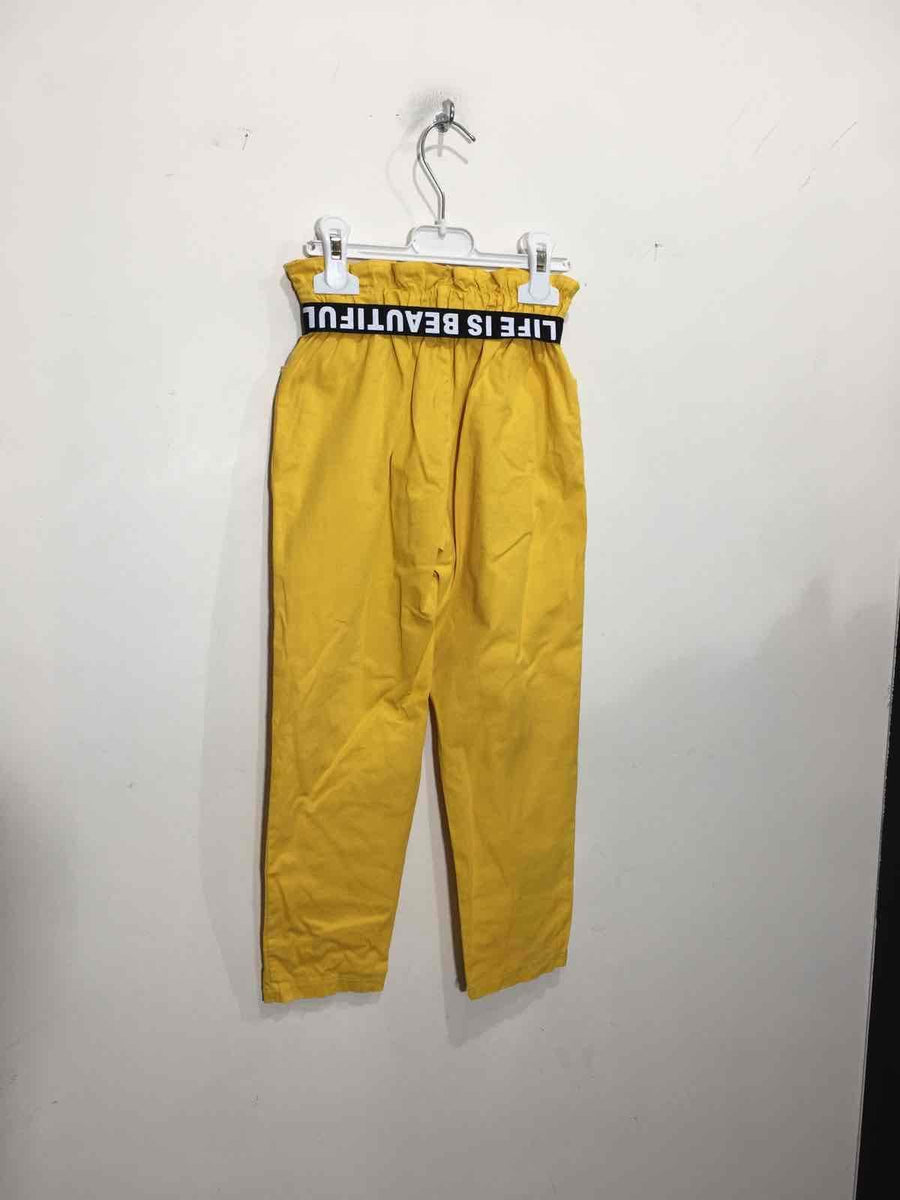 Catia Printed Buckle Belt Pleated Waist Tapered Cargo Trousers Mustard