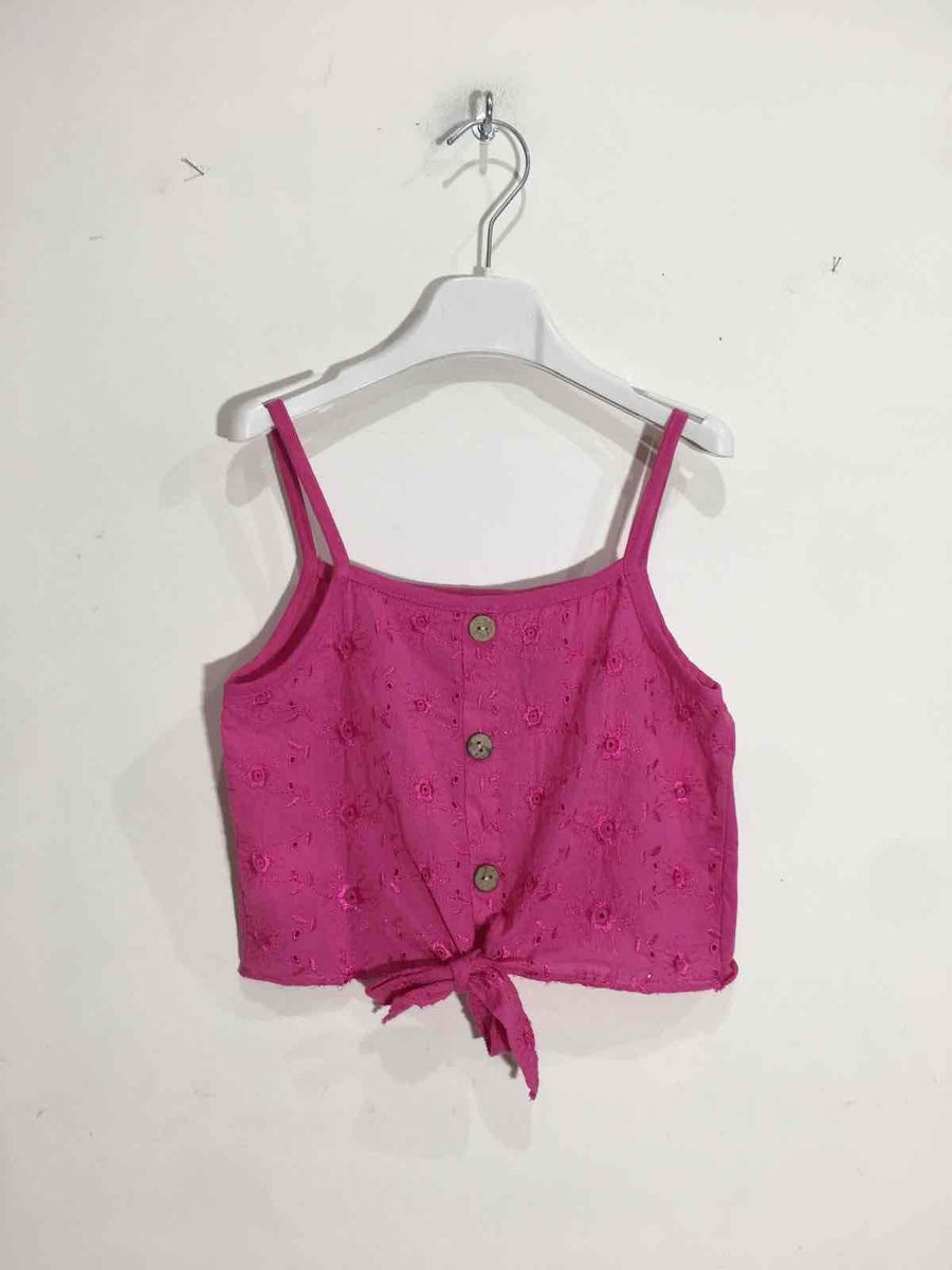 Daisy Embroidered Print Button Detail Knot Front Crop Top Fuchsia