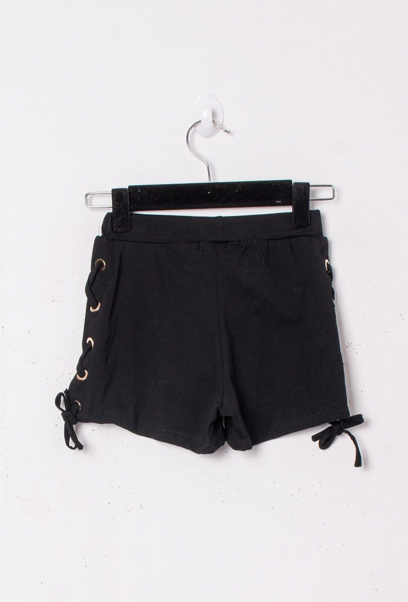 Molly Tie Side Cotton Shorts Black