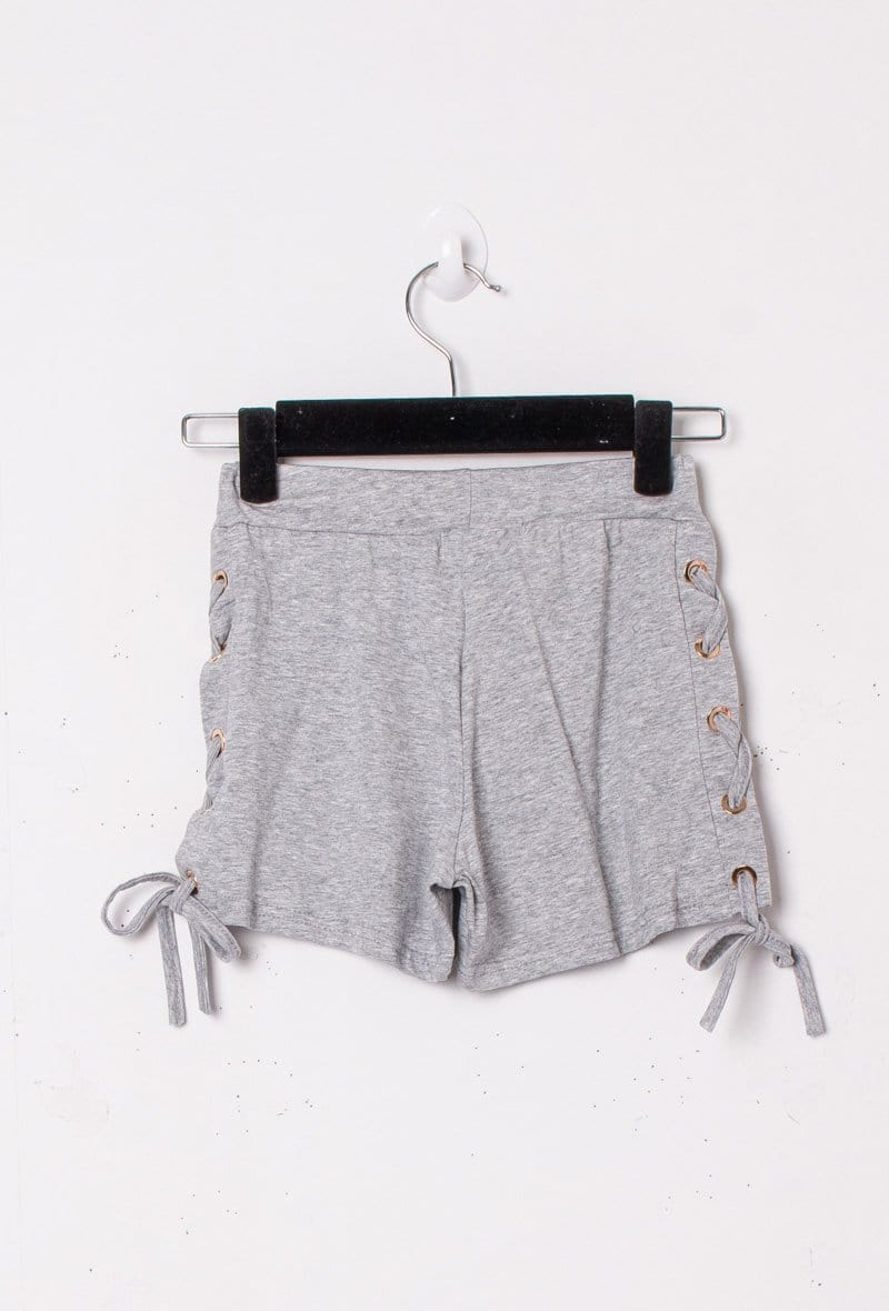 Molly Tie Side Cotton Shorts Grey