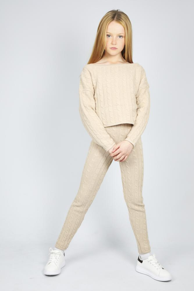 Anha Knitted Wide Neck Lounge Co-Ord Set Nude
