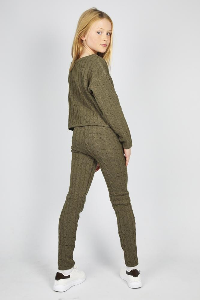 Anha Knitted Wide Neck Lounge Co-Ord Set Khaki