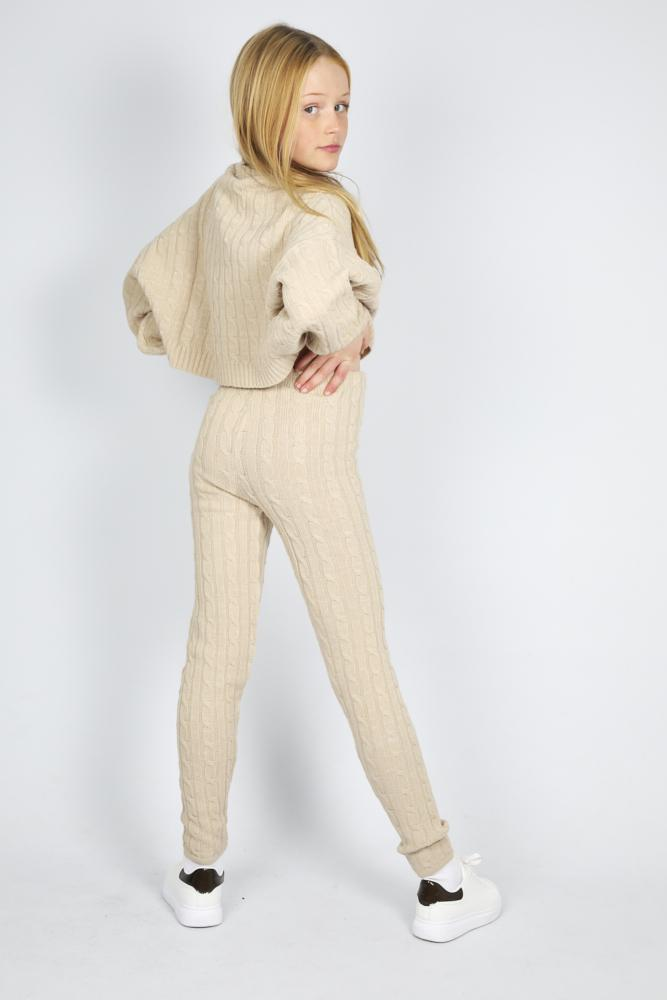 Janea Knitted Slim Fit Lounge Co-Ord Set Nude