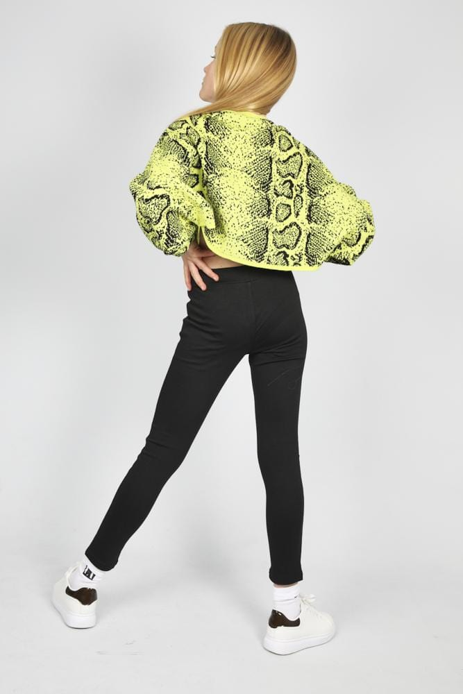 Kylie Batwing Knitted Crew Neck Snake Print Jumper Lime/Black