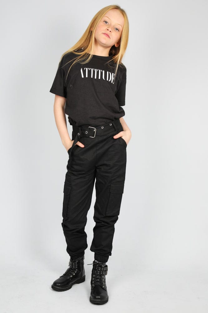 Attitude Printed Oversized T Shirt Black/White