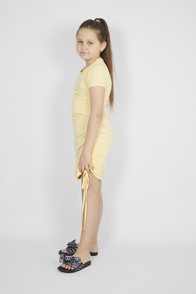 Simmi Attitude Laced Ruffle T shirt Dress in Yellow