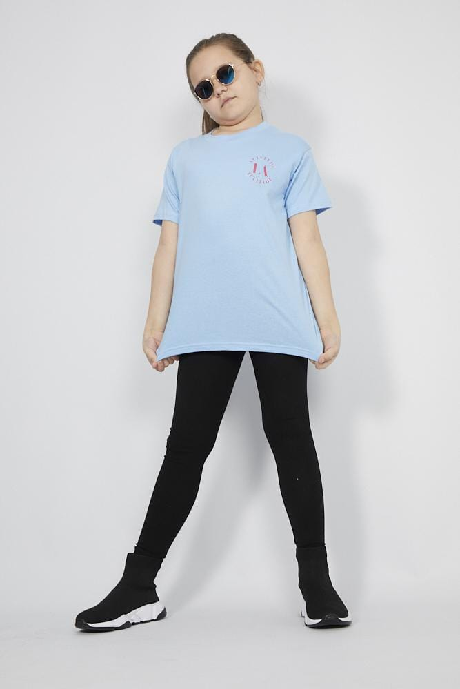 Aria Attitude Circle  Printed T Shirt Blue