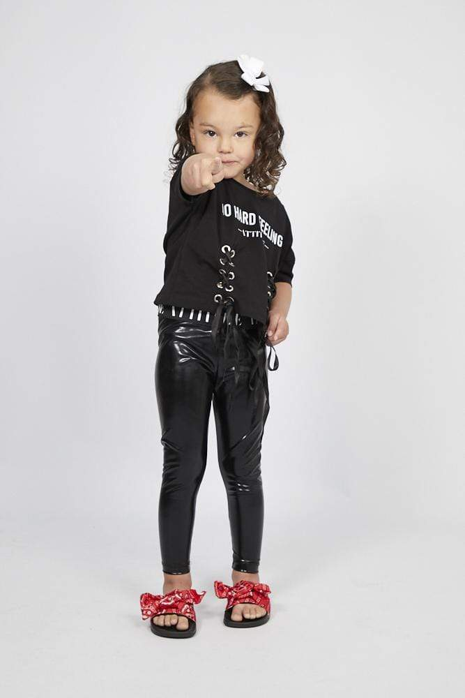 Kelsey Cropped Laces Attitude T Shirt and Leggings Set in Black