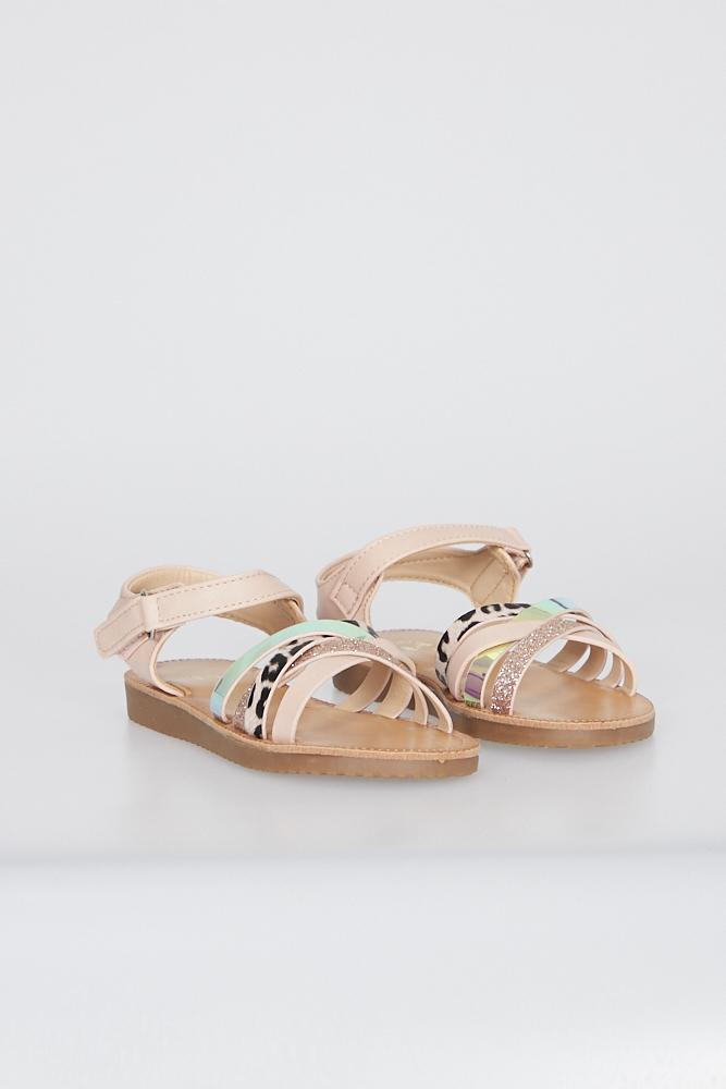 Piper Cross Strap Sandals With Velcro Fastening Pink