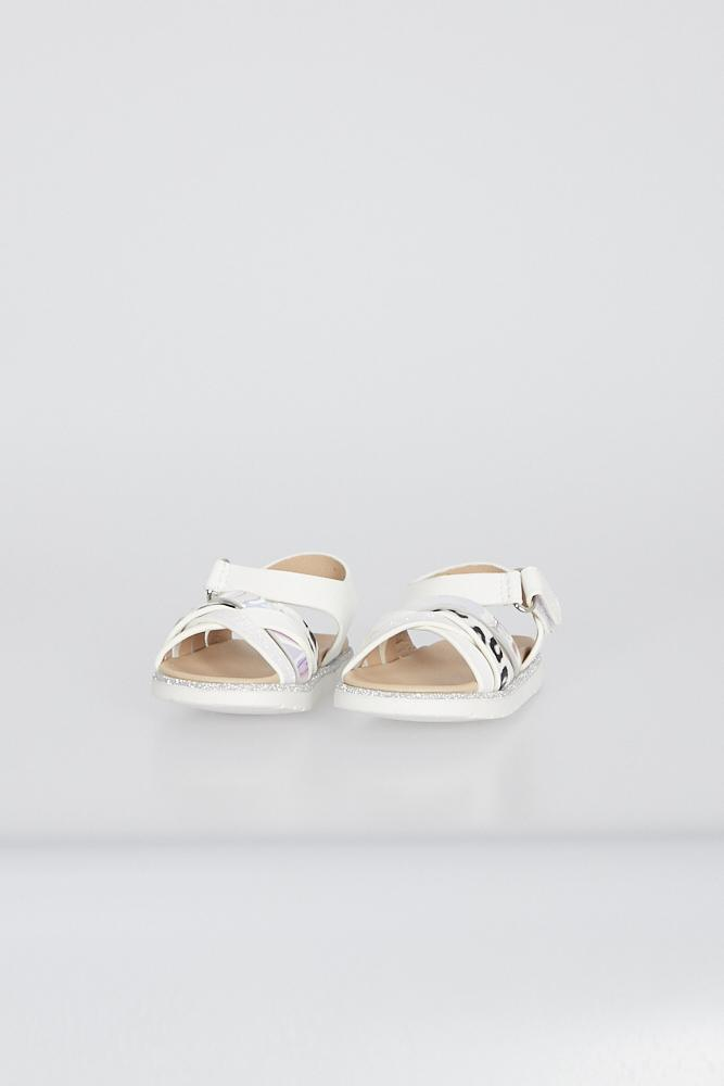 Piper Cross Strap Sandals With Velcro Fastening White