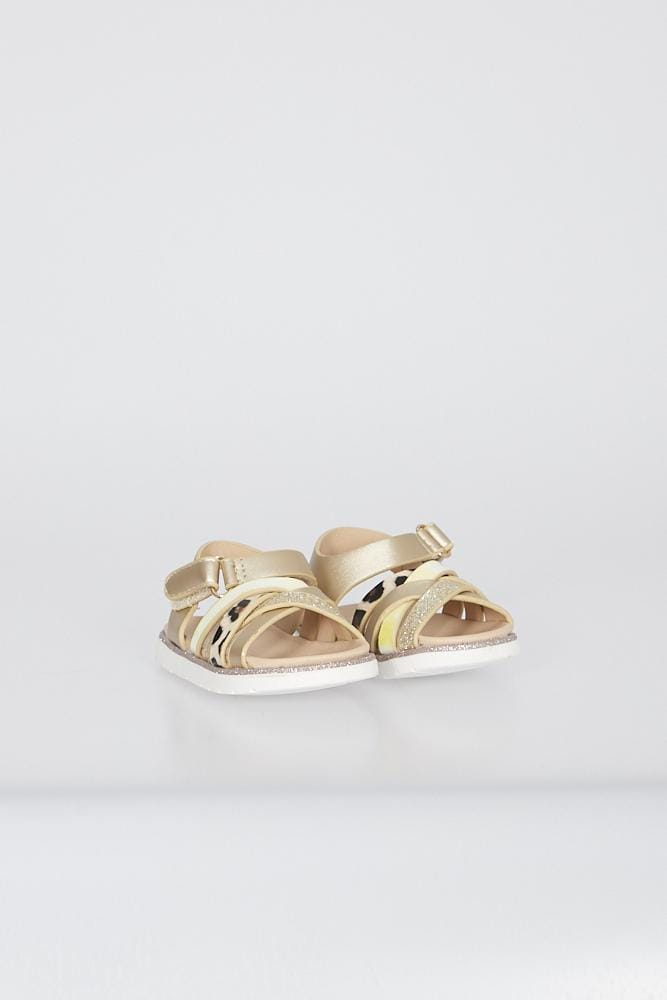 Piper Cross Strap Sandals With Velcro Fastening Gold
