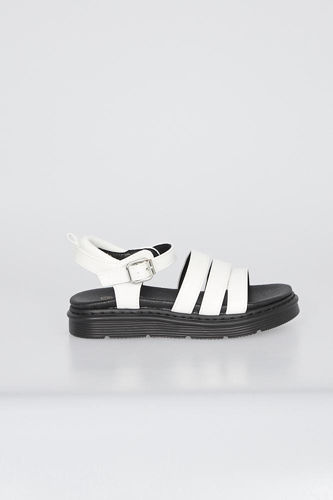 Martina Triple Strap Sandals White