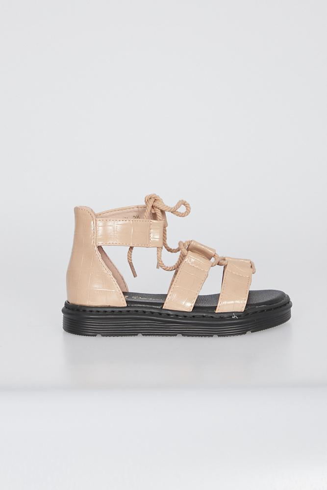 Avah Chunky Sole Lace Up Gladiator Sandal Pink