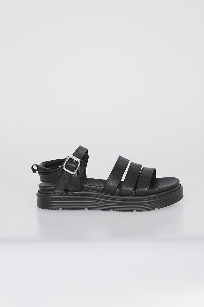 Martina Triple Strap Sandals Matte Black