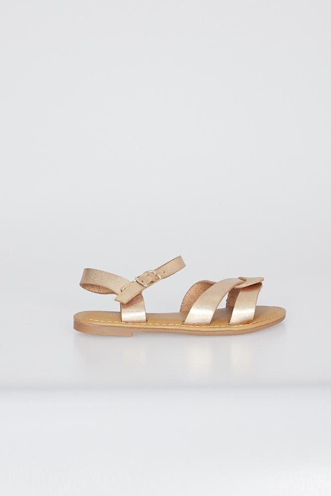 Camila Cross Strap Sandals Gold