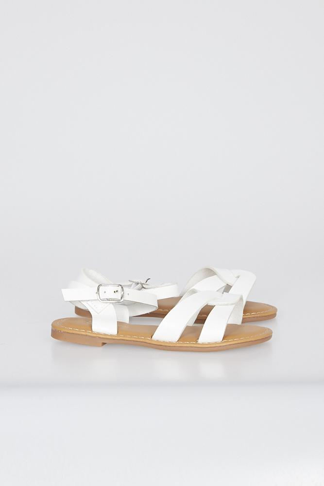 Camila Cross Strap Sandals White