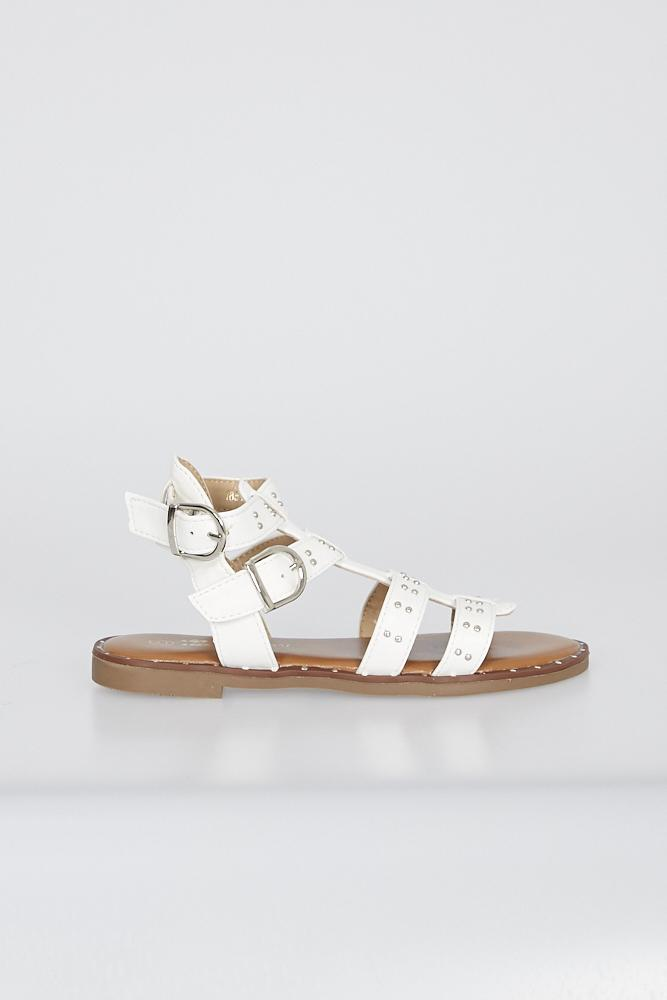 Brooke Gladiator Sandals With Studs White