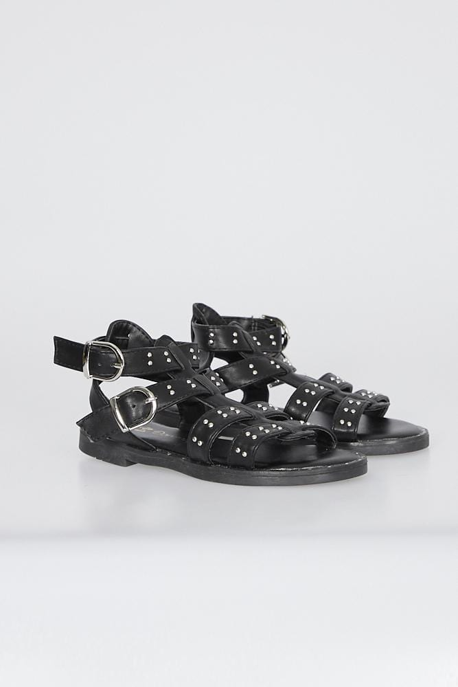 Brooke Gladiator Sandals With Studs Black