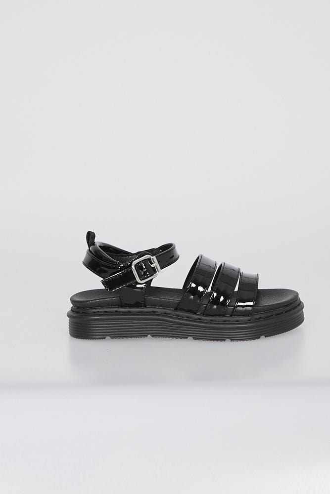 Martina Triple Strap Sandals Black Patent