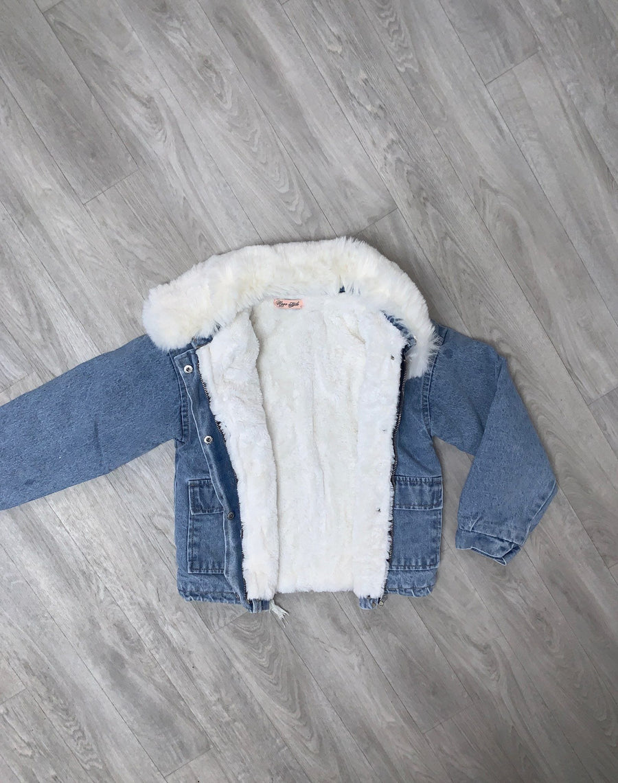 Mya Fur Denim Jacket With Detachable Lining And Collar White