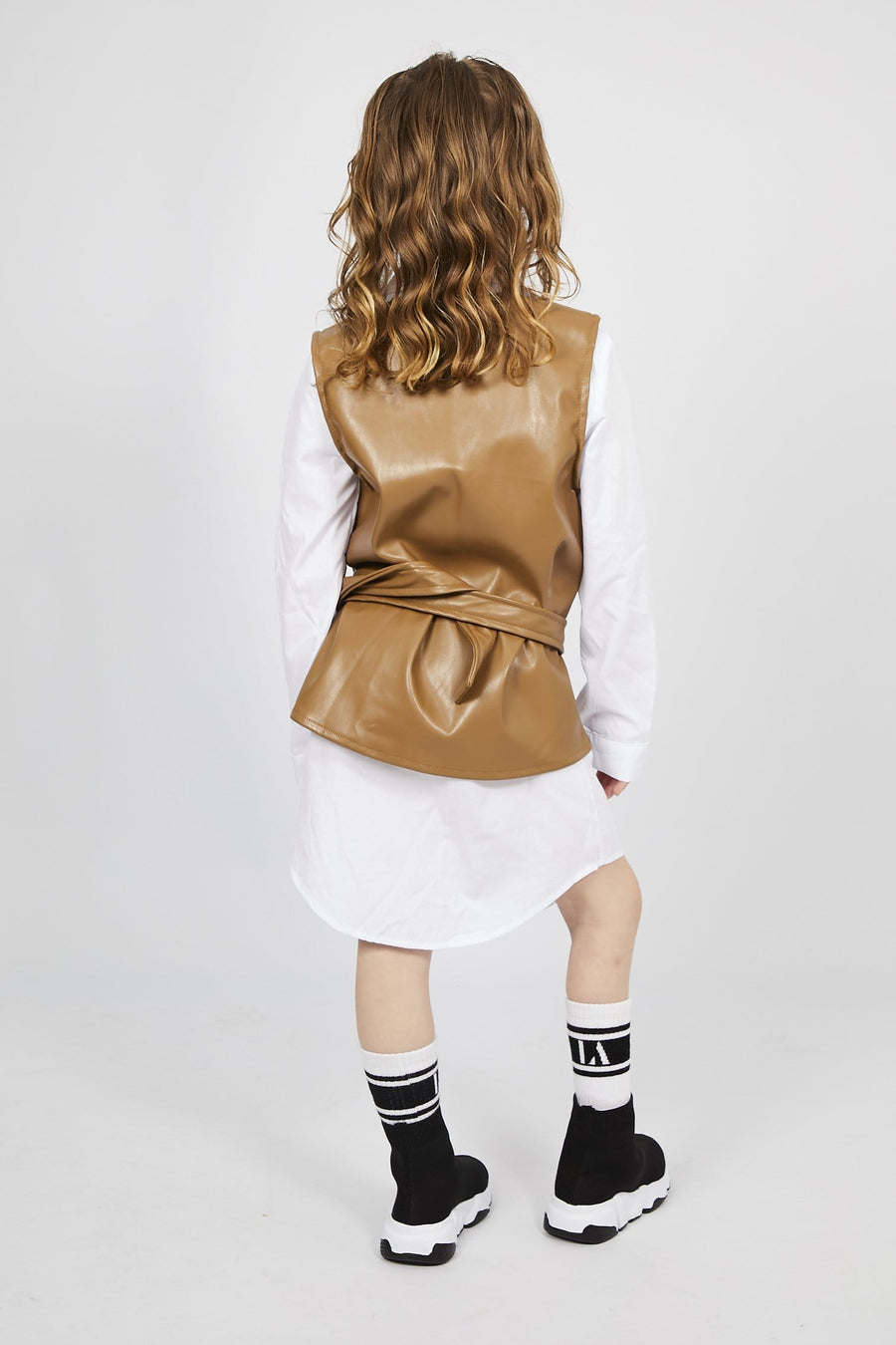 Madison Belted Gilet With Shirt Brown/White