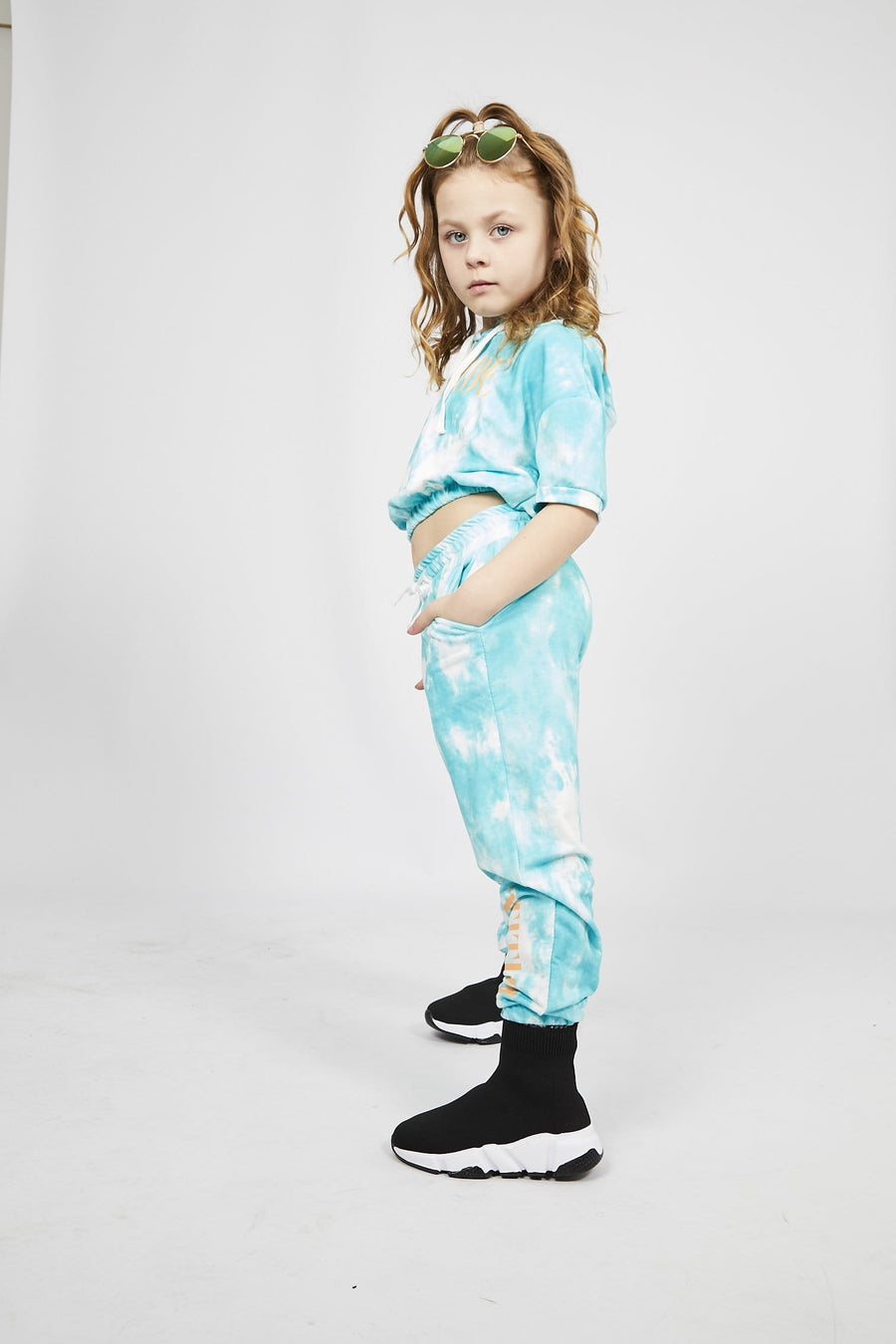 Hana Cropped Tie Dye Attitude Print Tracksuit Set Turquoise
