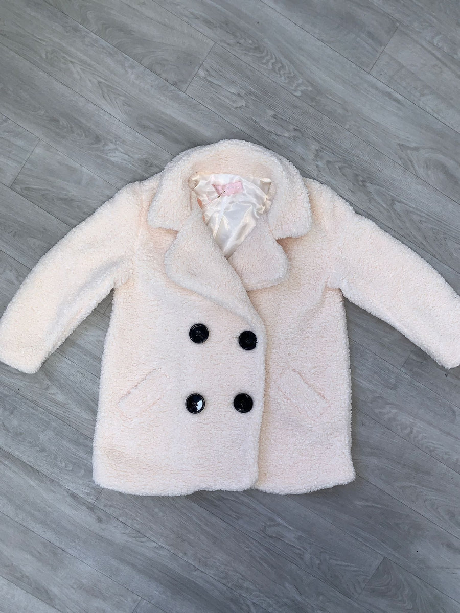 Hailey Oversize Button Detail Cosy Teddy Borg Coat White From Little Attitude