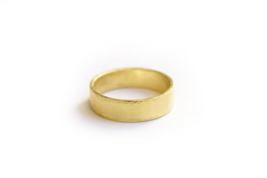 Mens Wedding Band Hammered 18k Gold