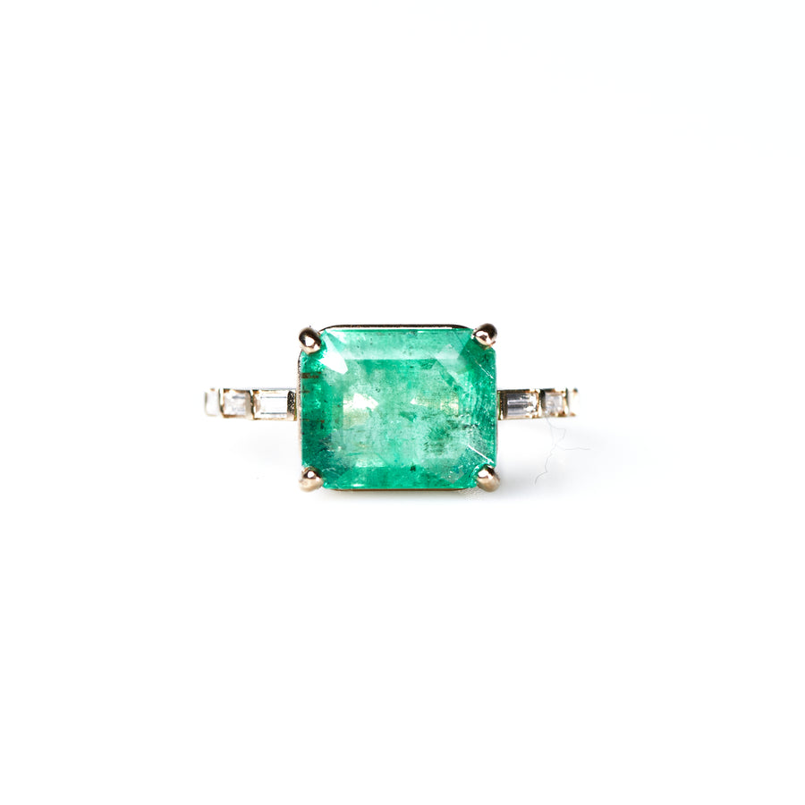 Green Meadows 4.5ct Emerald East West with Diamond Baguette Band Ring