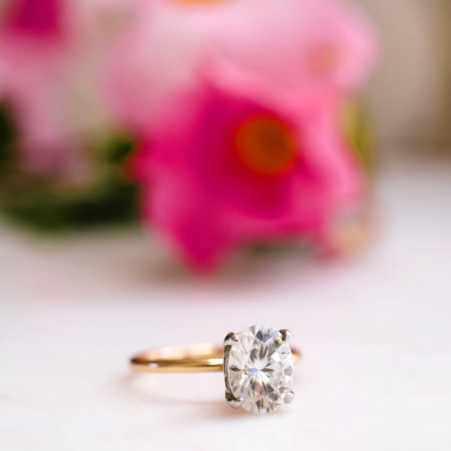 Oval Moissanite Engagement Ring 14k Rose Gold Thin Band