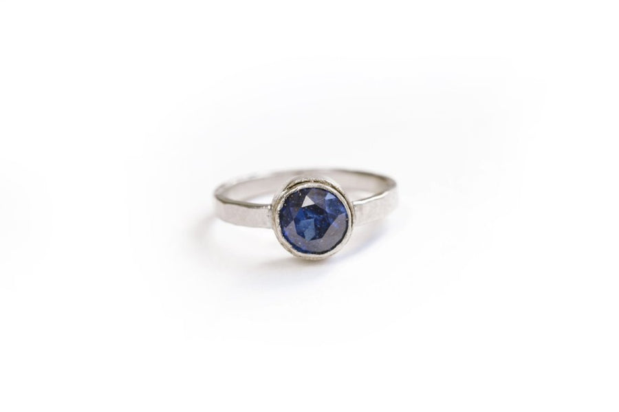 Blue Sapphire 18k Hammered White Gold Engagement Ring