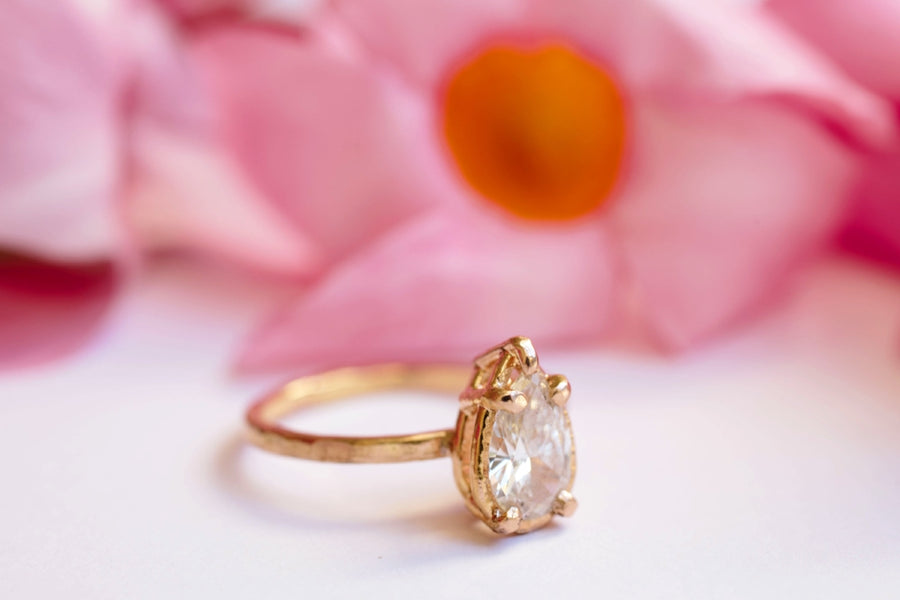 Pear Diamond 14k Rose Gold Hammered Halo Engagement Ring