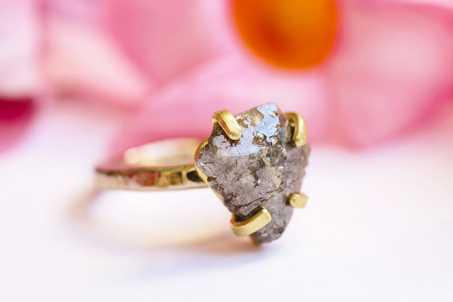 Rustic Gray Diamond Hammered Gold Engagement Ring