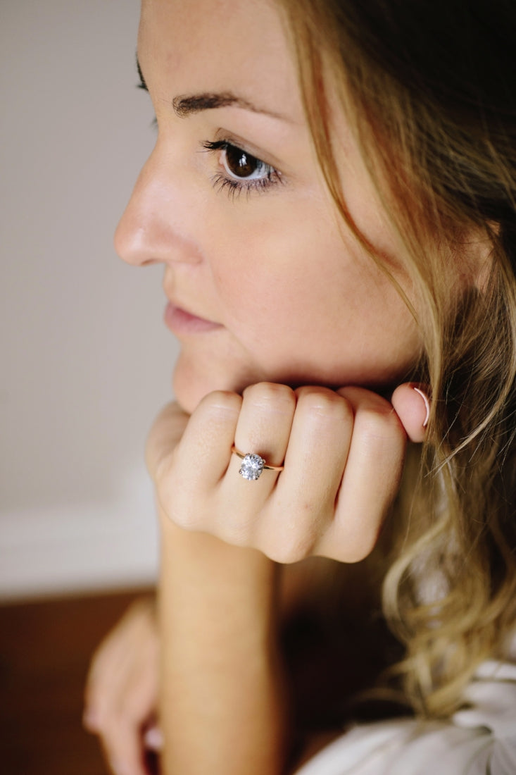Oval Moissanite Engagement Ring with 14k Rose Gold Thin Band