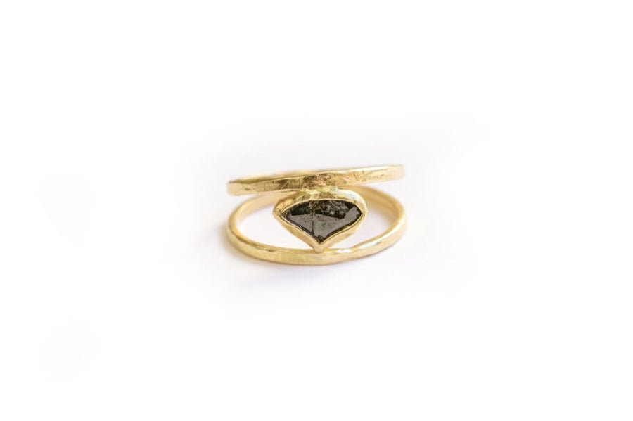 Deep Waters | Rough Blue Diamond Slice Rustic Hammered 14k Gold Engagement Ring - Melissa Tyson Designs