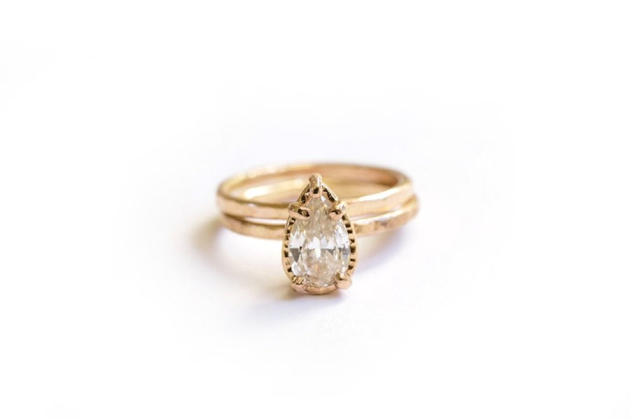 Pear Diamond Engagement Ring Set with 14k Rose Gold Hammered Halo