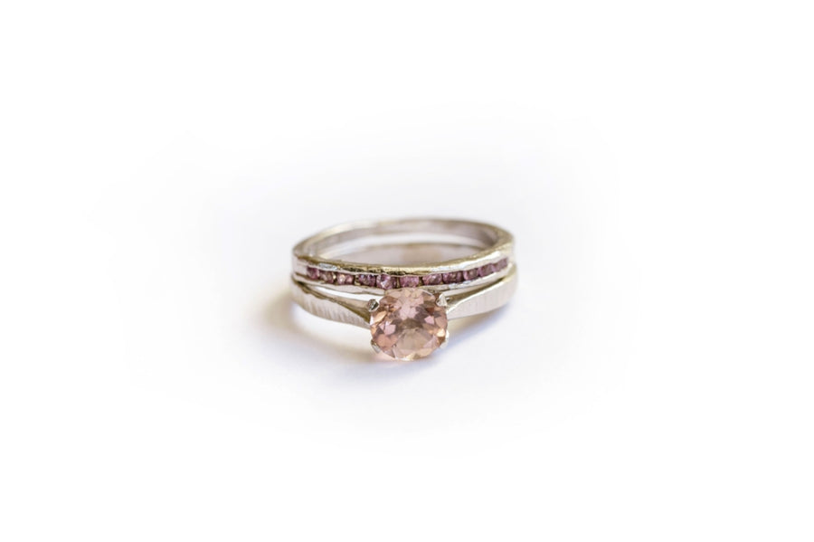 Morganite Engagement Ring Set with Hammered Platinum Band and Pink Sapphires