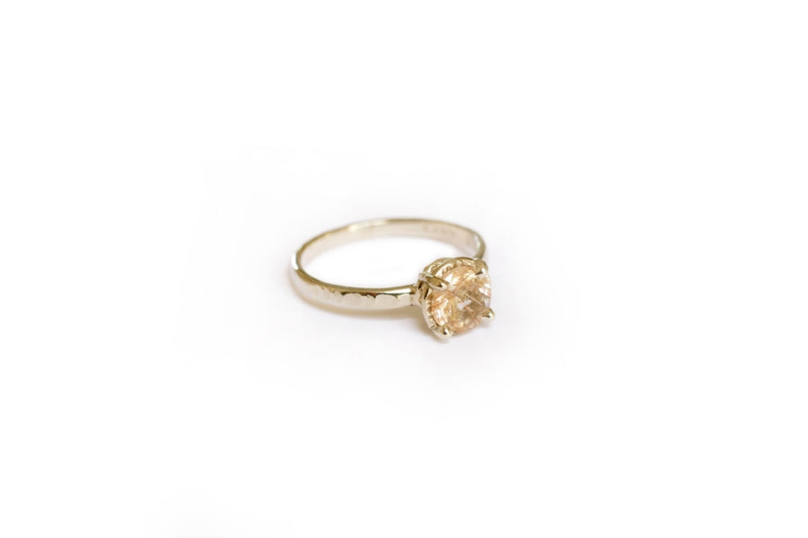 Whispering | Rutilated Quartz 14k White Gold Hammered Engagement Ring - Melissa Tyson Designs