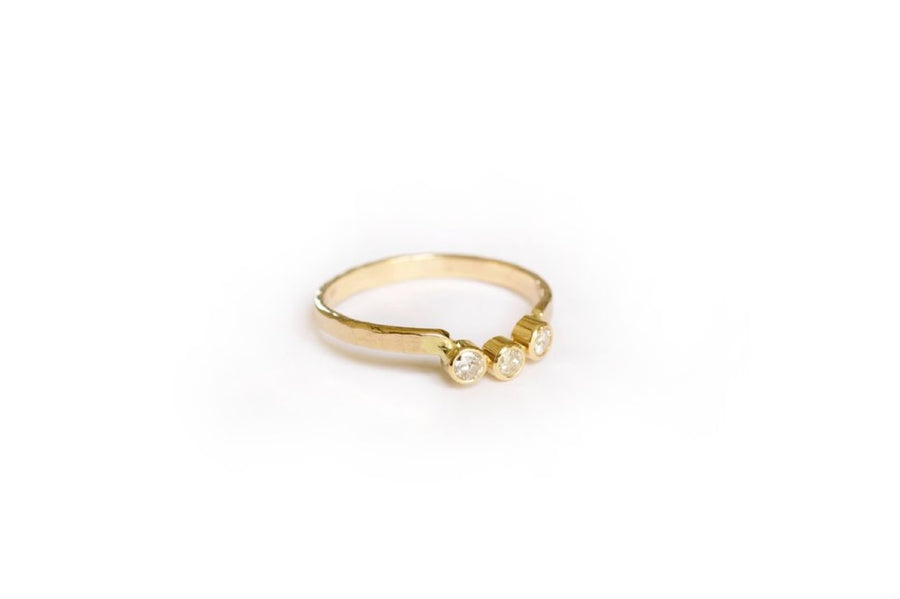 U-Shaped Diamond and Gold Hammered Wedding Band