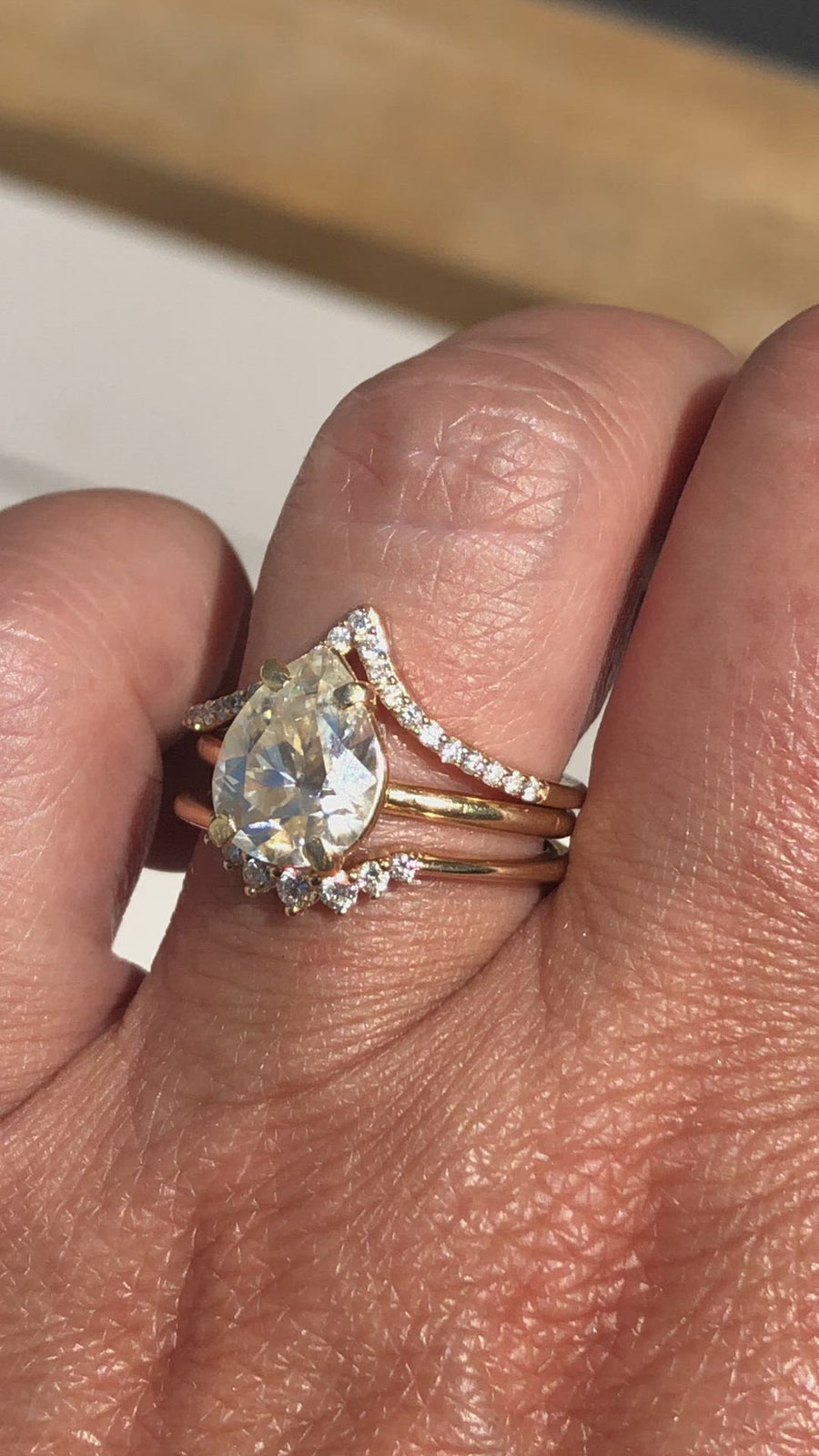 Persian Pear | Pear Moissanite Engagement Ring Set