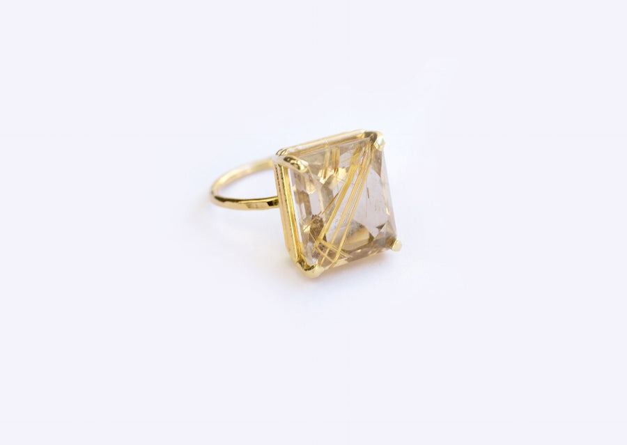 Golden Days | Rudilated Quartz Engagement Ring - Melissa Tyson Designs